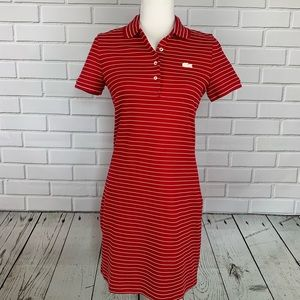LACOSTE Polo T-Shirt Dress Red/White Stripe 4 NWT